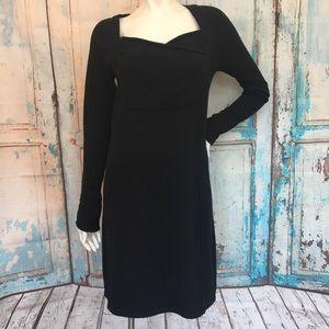 ATHLETA Ruched Sleeve Black Sweater Dress